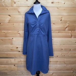 Tehama Blue Stretch Roll Up Sleeves Ruched Dress M